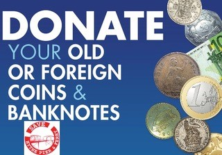 Donate your old or foreign coins and banknotes